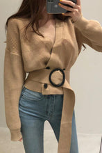 Sweet Casual Chic Loose Plain Buckle Belt Double-Breasted Long Sleeve Cardigan - lolabuy