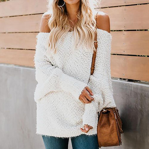 Fashion Plush Open Shoulder Sweater - lolabuy