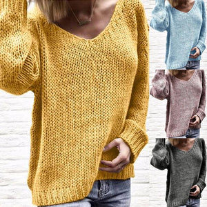 V Neck Long Sleeve Plain Knitting Casual Sweaters - lolabuy