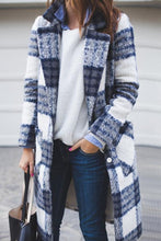 Fold Over Collar  Plaid Cardigans - lolabuy