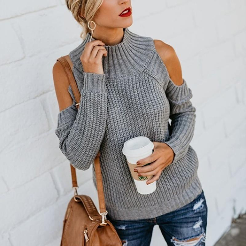 Turtle Neck Long Sleeve Hollow Out Fashion Knitting Sweaters - lolabuy