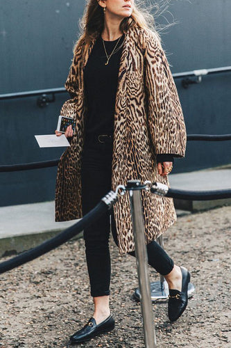 Elegant Stylish Loose Leopard Print Long Sleeve Coat Cardigan - lolabuy