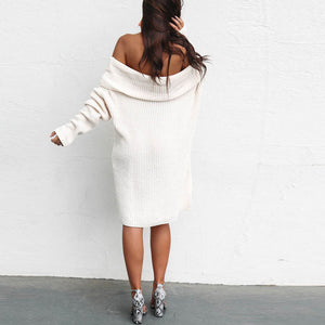 Elegant Fashion Loose Solid Color Off Shoulder Long Sleeve Shift Dress - lolabuy