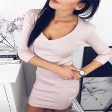 Sexy Fashion Slim Solid Color V Collar Long Sleeve Bodycon Dress - lolabuy