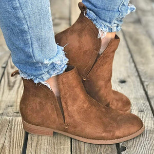 Fashion Suede Low Heel Ankle Boots - lolabuy