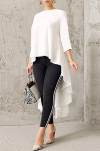 Business Elegant Fashion Loose Solid Color Long Sleeve Blouse - lolabuy