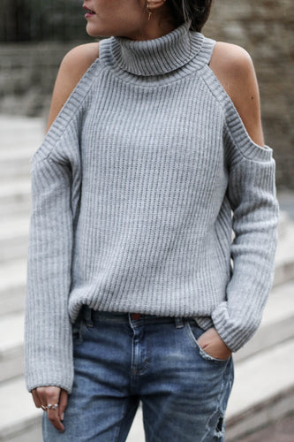 Fashion Off Shoulder Plain Loose Knit Sweater - lolabuy
