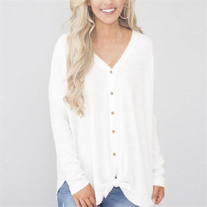 Casual Fashion Loose Solid Color Button V Collar Long Sleeve Blouse - lolabuy