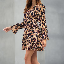 Sexy V Collar Leopard Printed Shift Dress - lolabuy