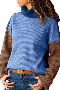 High Neck  Patchwork Sweaters - lolabuy