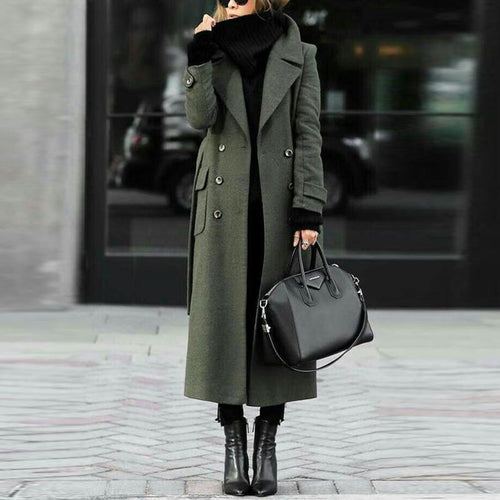 Women Classic Turn-Down Collar Elegant Trench Long Coat - lolabuy