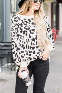 Casual Fashion Loose Leopard Print Long Sleeve Hoodie Top - lolabuy