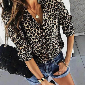 Fashion Leopard Print Long-Sleeved Blouses - lolabuy