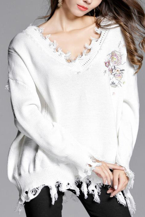 Sweet Fashion Loose Solid Color Irregular Side Long Sleeve Sweater - lolabuy