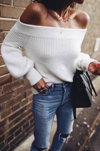 Elegant Fashion New Arrival Solid Color Off Shoulder Long Sleeve Knitting Top Sweater - lolabuy