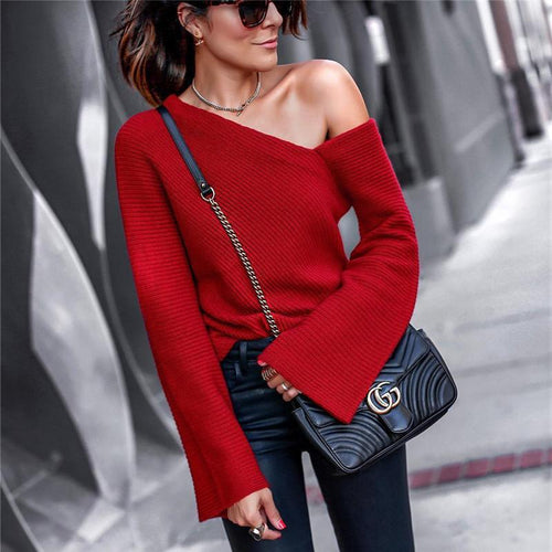 Autumn And Winter   Fashion Shoulder Pure Long Sleeve Sweater - lolabuy