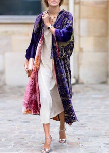 Printed Colour Long   Sleeve Coat - lolabuy