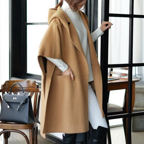 Casual Batwing Sleeves Hooded Plain Oversize Woolen Coat - lolabuy