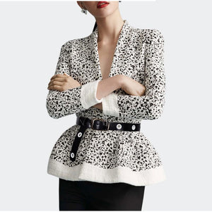 Chic New Style V Collar Shoulder Padding Long Sleeves Blouse With Waistband - lolabuy