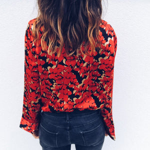Sexy Deep V Collar Long Sleeves Floral Printed Blouse - lolabuy