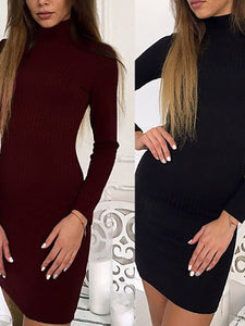 High Neck  Inverted Pleat  Bust Darts  Plain Bodycon Dresses - lolabuy