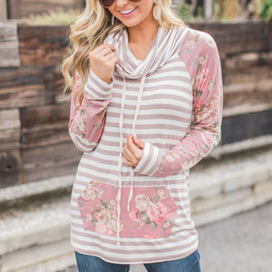 Fashion Casual Long Printed Sleeves Strip Slim Hoodie - lolabuy