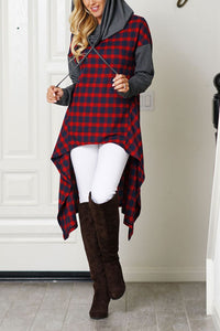 Chic Casual Color Block Plaid Long Sleeves Long Hoodie - lolabuy