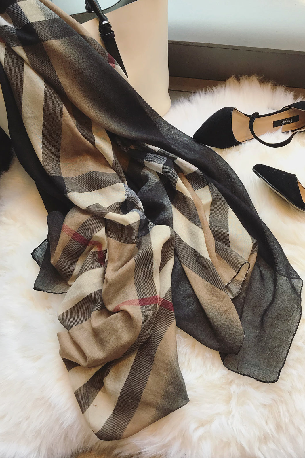 Fashion Color Block Plaid Korean Style Tippet Scarf - lolabuy