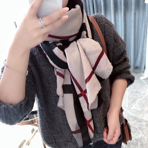Elegant Fashion Korean Style All-Match Color Block Plaid Gored Cotton&Linen Scarf - lolabuy