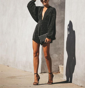 Backless Vneck Sexy Flash Sequins Bat Long Sleeve Jumpsuit - lolabuy
