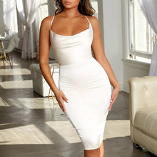 Sexy Elegant Sleeveless Backless Plain Bodycon Dress - lolabuy