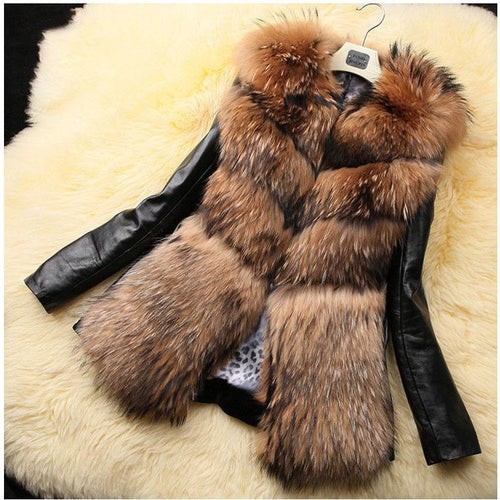 Chic Casual Artificial Fox Fur Gored Long Sleeves Coat - lolabuy