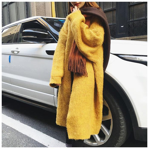 Casual Loose Plain Lantern Sleeve Knit Long Coat