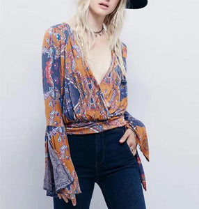 Sexy Ruffle Sleeve V Neck Floral Print Loose   T-Shirt