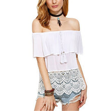 Sexy Off Shoulder Patchwork T-Shirt