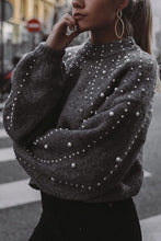 Round Neck Loose Nail Pearl Knitting Sweater - lolabuy