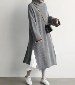 Casual Simple Pure   Color Loose High Collar Knitted Sweater Maxi Dress - lolabuy