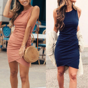 Sexy Elegant Plain Sleeveless Bodycon Dress - lolabuy