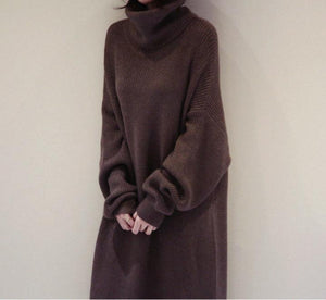 Fashion Simple And Loose Long Sleeves Knitted Sweater Shown Thin Maxi Dress - lolabuy