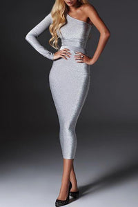 Sexy Off Shoulder Plain Tight Bodycon Dress - lolabuy