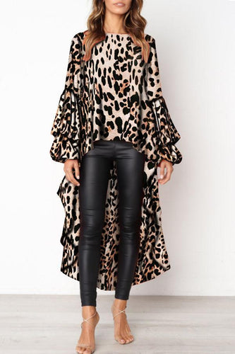 Flash Sale Fashion Leopard Print Asymmetric Hem Lantern Sleeve Shirt - lolabuy