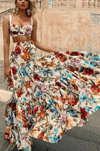 Sexy Off Shoulder Midriff-Baring Floral Printed Beach Maxi Dress - lolabuy