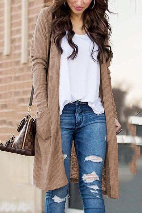 Fashion Plain Winter Loose Knit Long Cardigan - lolabuy