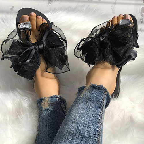 Fashion Clip Toe Flat Sandal Shoes With Bow-Knot