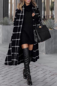 Fashion Grid Long Sleeve Overcoat - lolabuy