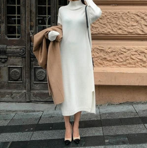 Casual Simple Loose Knitted Maxi Dress - lolabuy