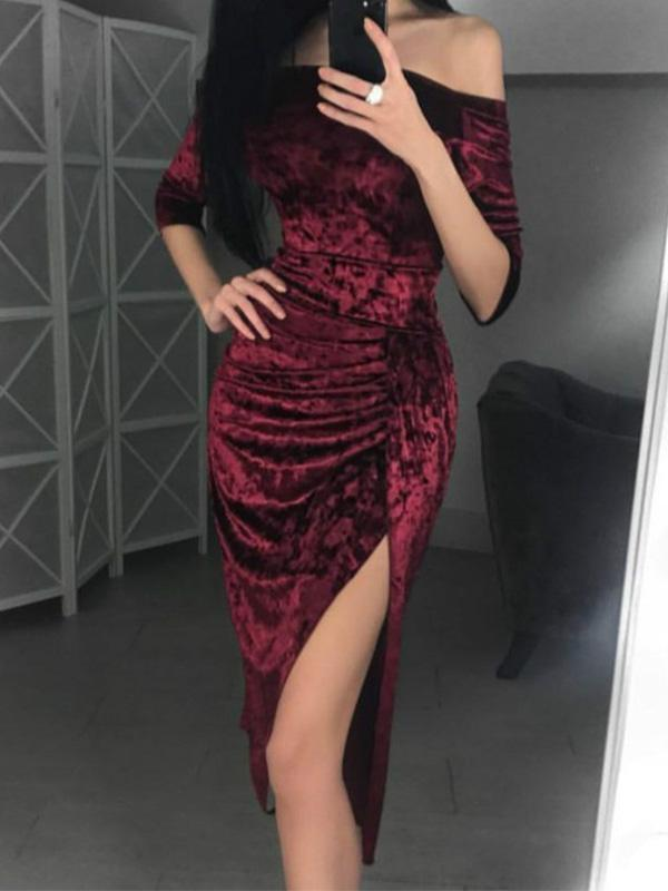 Fashion Solid Color Off Shoulder Bodycon Dress - lolabuy