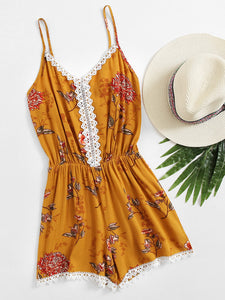 Sexy V-Neck Halter Printed Vacation Jumpsuit