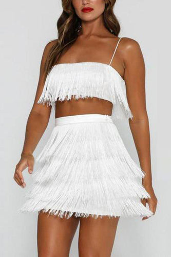 Sexy White Tassel Sleeveless Two-Piece Suit Mini Dress - lolabuy