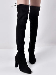 Pointed Elastic Side Zip Over Knee Thick Heel Boots - lolabuy